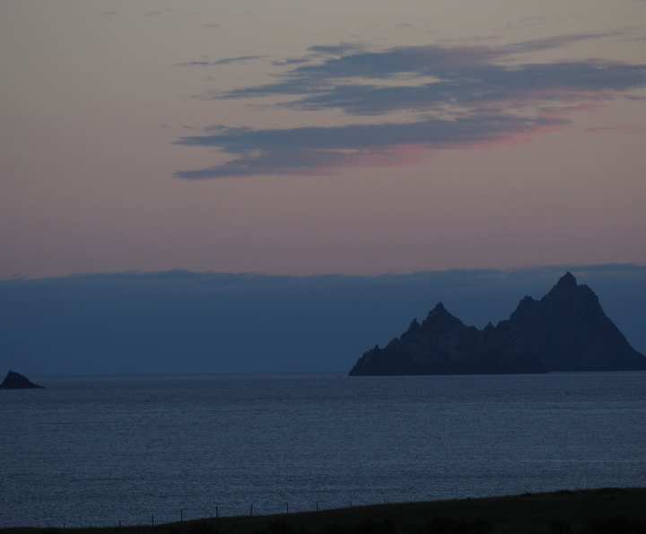 The Skelligs and Lemon Rock at sunset